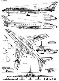 Туполев Ту-124В чертежи