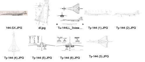 Туполев Ту-144Д чертежи